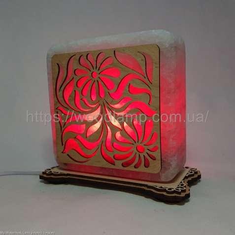 Соляной светильник квадратный Цветы, соляная лампа, ночник