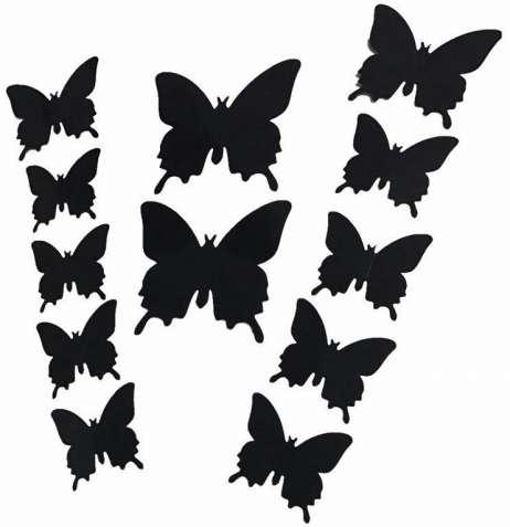Наклейки бабочки черные, комплект