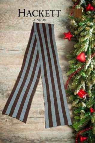 Hackett 100% кашемир Теплый длинный шарф в полоску двойной унисекс
