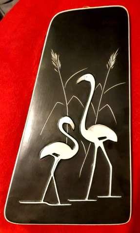 Япония фламинго Айдзу Уруси панно тарелка керамика