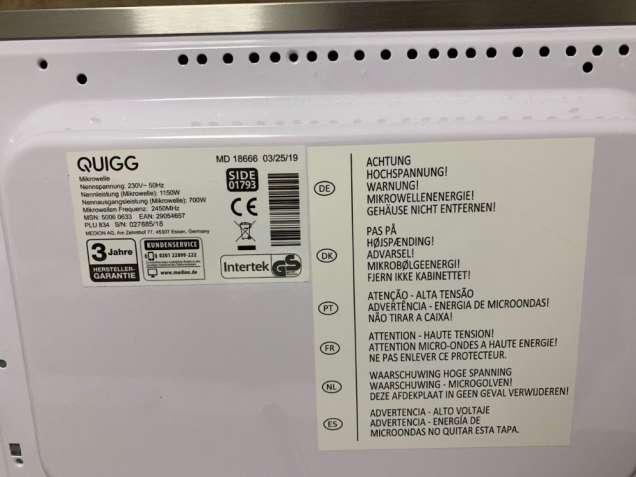 Новая микроволновая печь из нержавеющей стали Quigg MD 18666 (Германия - изображение 4
