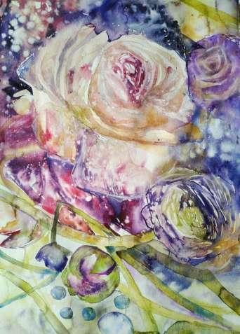 """Картина акварелью """"Замороженные цветы"""""""