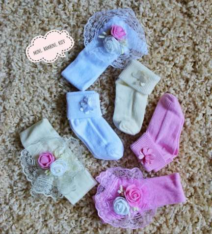 Набор носочки и повязка для новорожденной