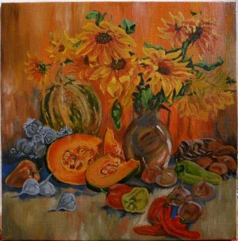 """Картина """"Натюрморт с овощами"""", холст, масло, 50х50см"""