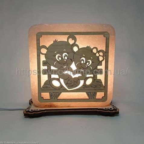 Соляной светильник квадратный Мишки на лавочке, соляная лампа, ночник