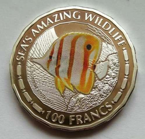 Длиннорылая рыба-бабочка, 100 франков, 2015, Республика Бурунди