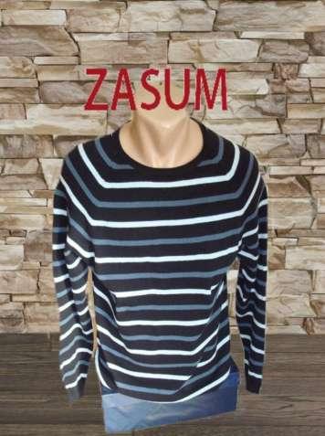 Zasum Хлопковый мужской свитер в разноцветную полоску M