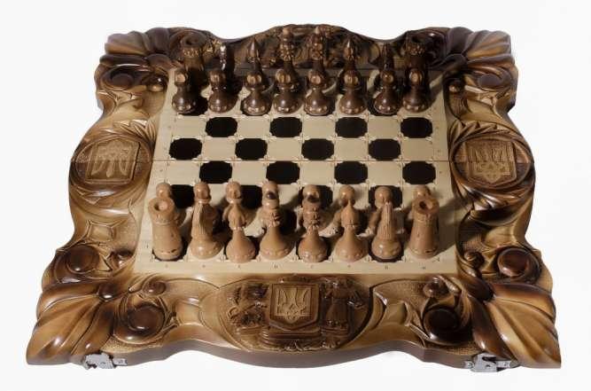 "Шахматы ручной работы ""Казацкие"" 3 в 1 (шахматы, нарды, шашки)"