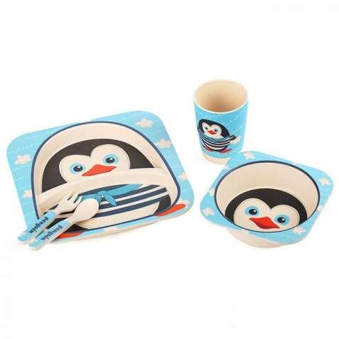 Детская бамбуковая посуда Пингвинчик набор из 5 предметов