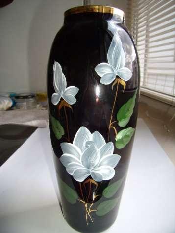 Винтажная ваза, СССР, цветное стекло, кобальт, позолота, цвет марсала - зображення 5
