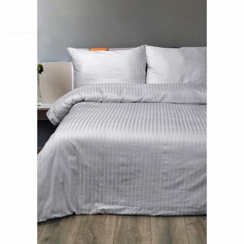 Постельное белье Lotus Отель - Сатин Страйп серый 1*1 полуторный