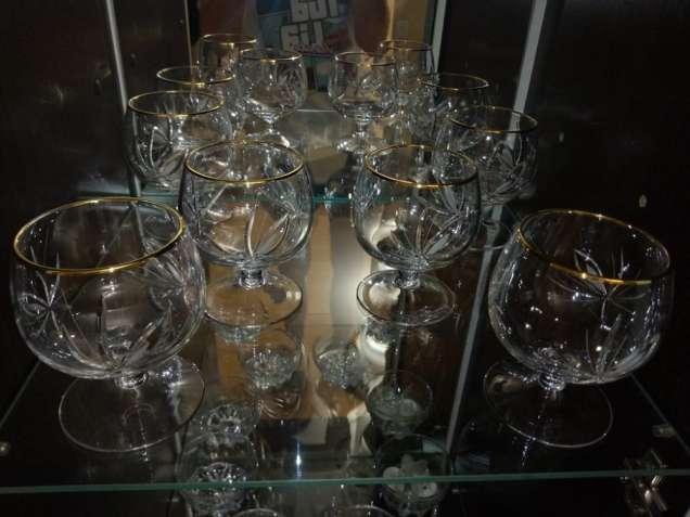 Современные 12 шт хрустальные бокалы (фужеры) и рюмки с резьбой новые