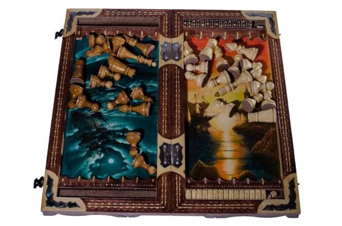 "Шахматный набор ""Летучий Голландец"" 3 в 1 (шахматы, нарды, шашки)"