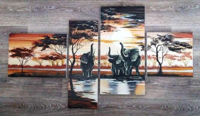 """Картина, полиптих """"Африканские слоны"""", холст, масло"""
