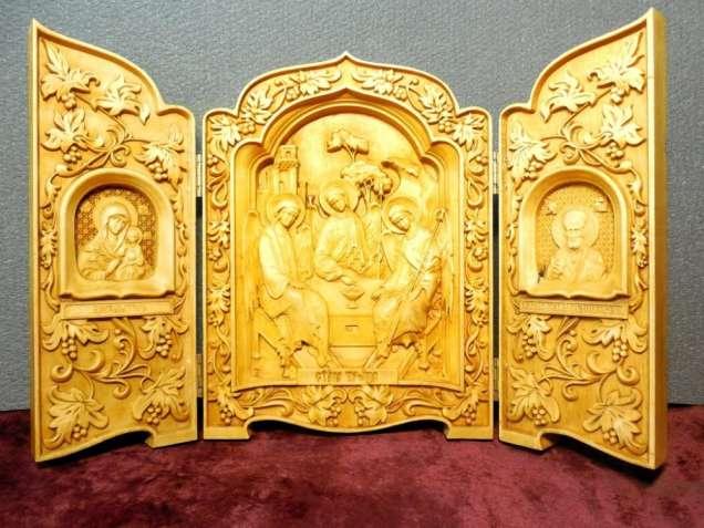 Икона резная триптих Св. Троица, Богоматерь и Ник. Чудотворец