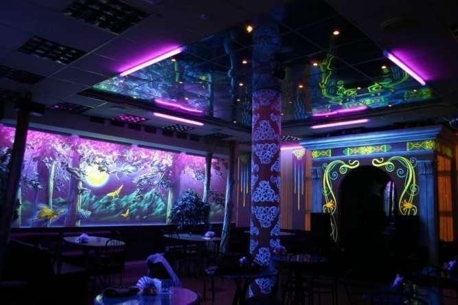 Роспись стен, потолков, фасадов, мебели и др. светящимися красками