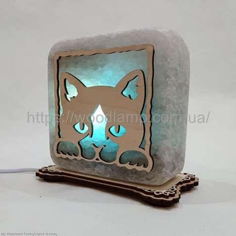 Соляной светильник квадратный Кот,лампа,ночник