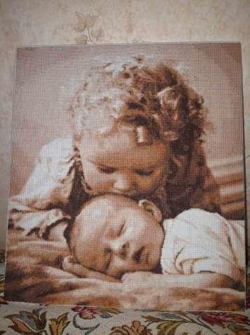 """Картина ручной работы(крестом)""""Люблю братика"""""""