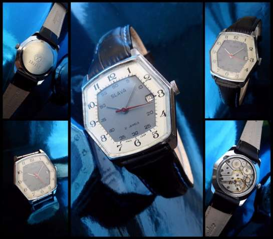 6 УГОЛЬНЫЕ, 2 БАРАБАННЫЕ часы СЛАВА-2414 сделано в СССР 70-Х. мужские
