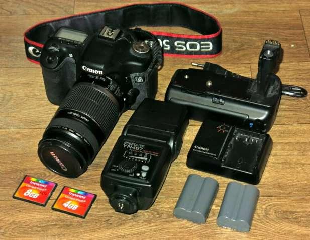 Canon 50d+объектив+вспышка+сумка, пробег 16к