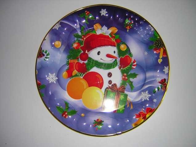 Блюдо пластиковое круглое новое (Новогодний подарок)