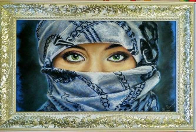 """Авторская картина """"Зеленые глаза"""""""