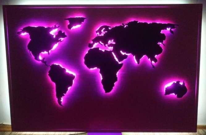 Карта мира с RGB подсветкой, управление по Bluetooth