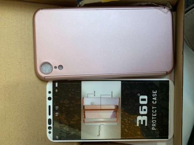 Чехол для iPhone XR (розовый) + защитное стекло