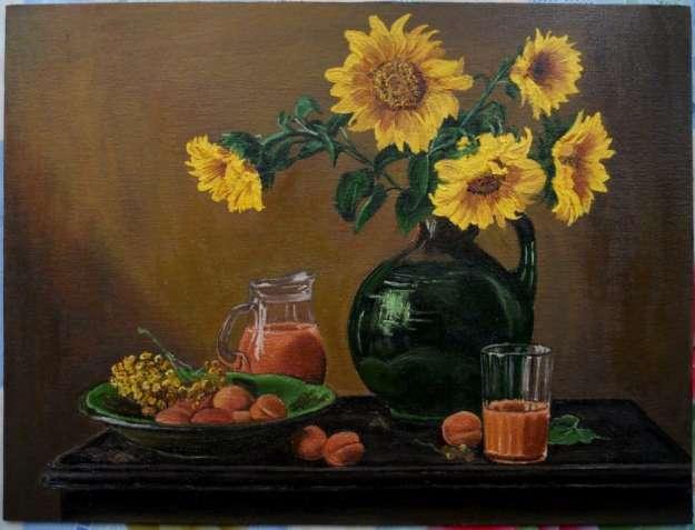 "Картина ""Натюрморт с подсолнухами"" , 30х40 см, холст, масло."