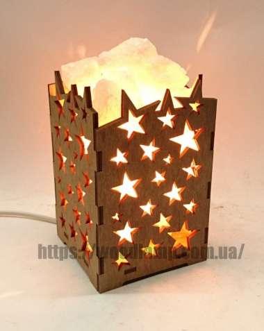 Соляной светильник Камин с кристаллами соли Звезды