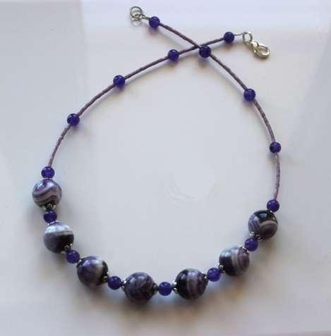 Ожерелье с аметистом, аметист, бусы