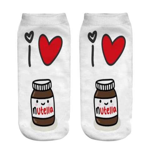 Носки женские с принтом «I love you» и шоколадной пастой