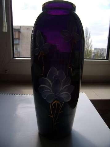 Винтажная ваза, СССР, цветное стекло, кобальт, позолота, цвет марсала - зображення 7