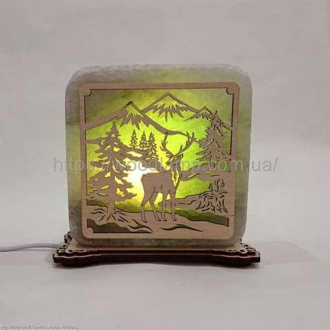 Соляной светильник квадратный Олень, соляная лампа, ночник