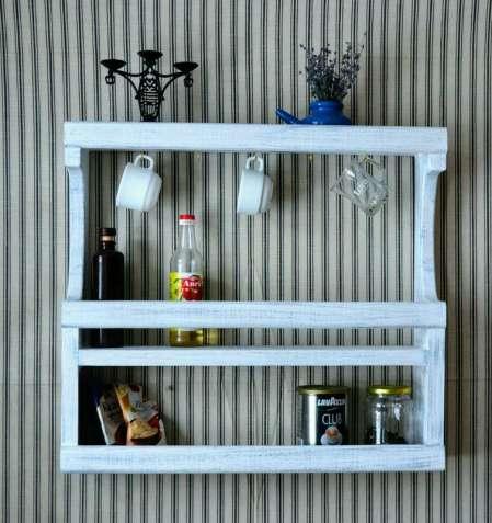 Полка кухонная навесная, деревянная полка на кухню.