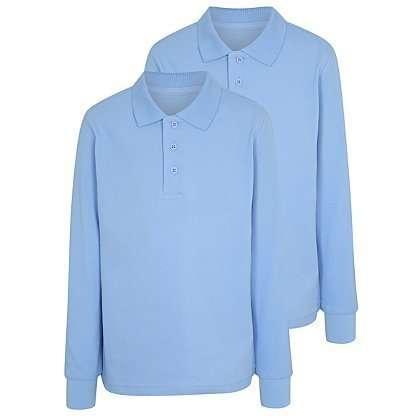 Футболка - поло школьная голубая с длинным рукавом от 6 до 13 лет