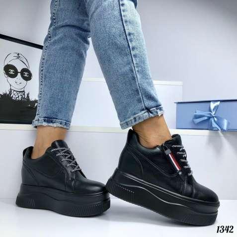 Черные женские кроссовки на платформе и танкетке 36-40р