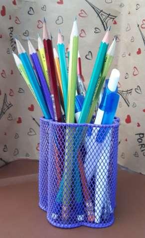 Металлическая подставка-стаканчик для ручек ZiBi Цветок Фиолетовая - изображение 2
