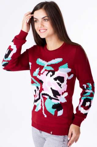 Бордовий жіночий в'язаний светр
