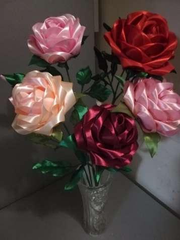 Интерьерная роза из атласной ленты ручная работа  https://obyava.ua/ua