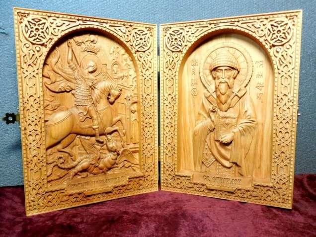 Икона резная диптих Георгий Победоносец и Св. Спиридон (под заказ)