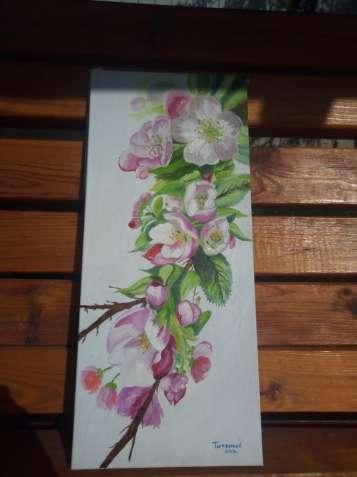 """Картина маслом """"Яблуни цветут"""""""