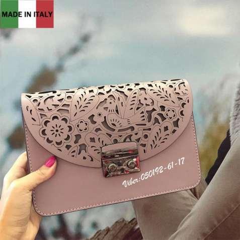 Эффектная роскошная сумка Италия женская в пудровом цвете