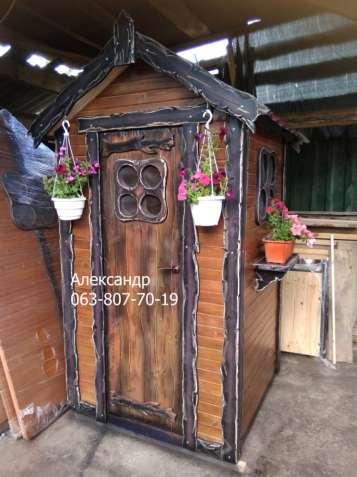 Деревянный туалет №3 под старину ( дачный, из дерева, для дачи )