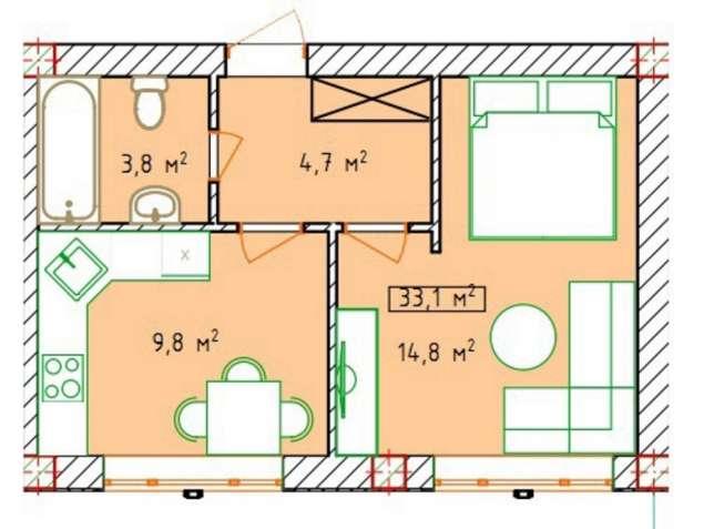 Продам отличную 1но комнатную квартиру на поселке Котовского