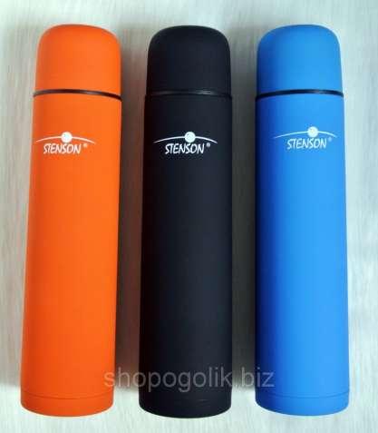 Термос STENSON MT-0448 1 литр 750 мл Soft touch с чехлом вакуумный