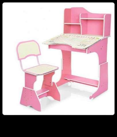 """Регулируемая детская парта """"ростишка"""" со стульчиком. Розовая."""