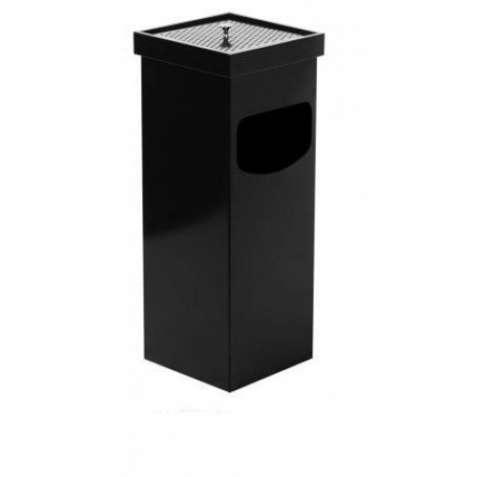0290-В Урна-попільничка, квадратна, метал пофарбований 35л, чорна