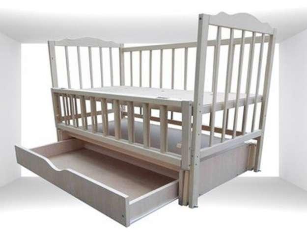 Кроватка кровать Белая детская на шарнирах маятник с ящиком Новые