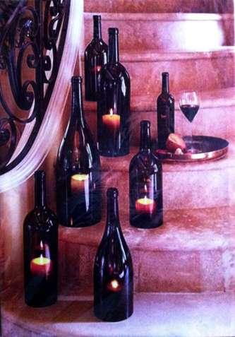 Картина с подсветкой. Купаж - горящие свечи в бутылках.
